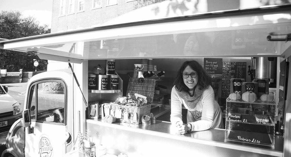 Hannah Pilfold and her mobile coffee van in Lewes