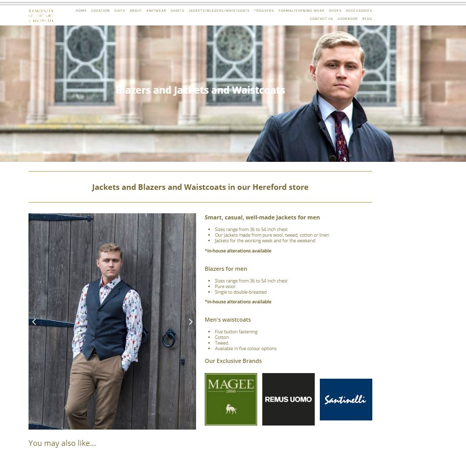 Screenshot of jackets page of Symonds of Hereford website