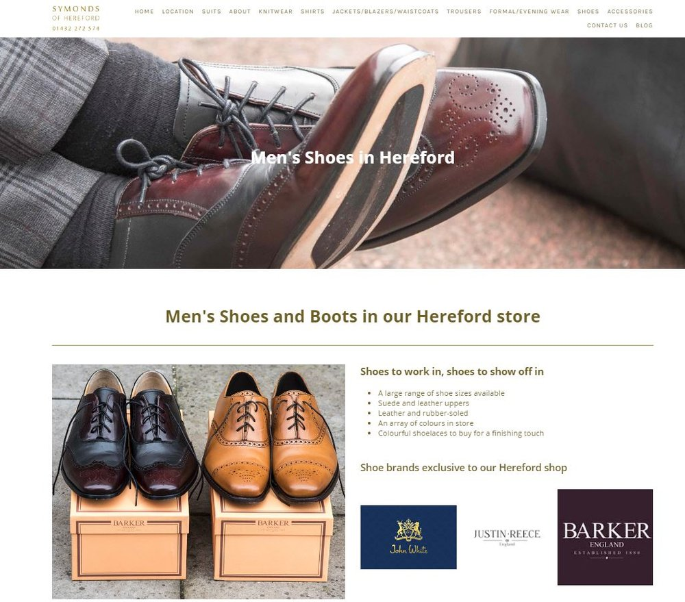 Screenshot of Shoes page of Symonds of Hereford Website