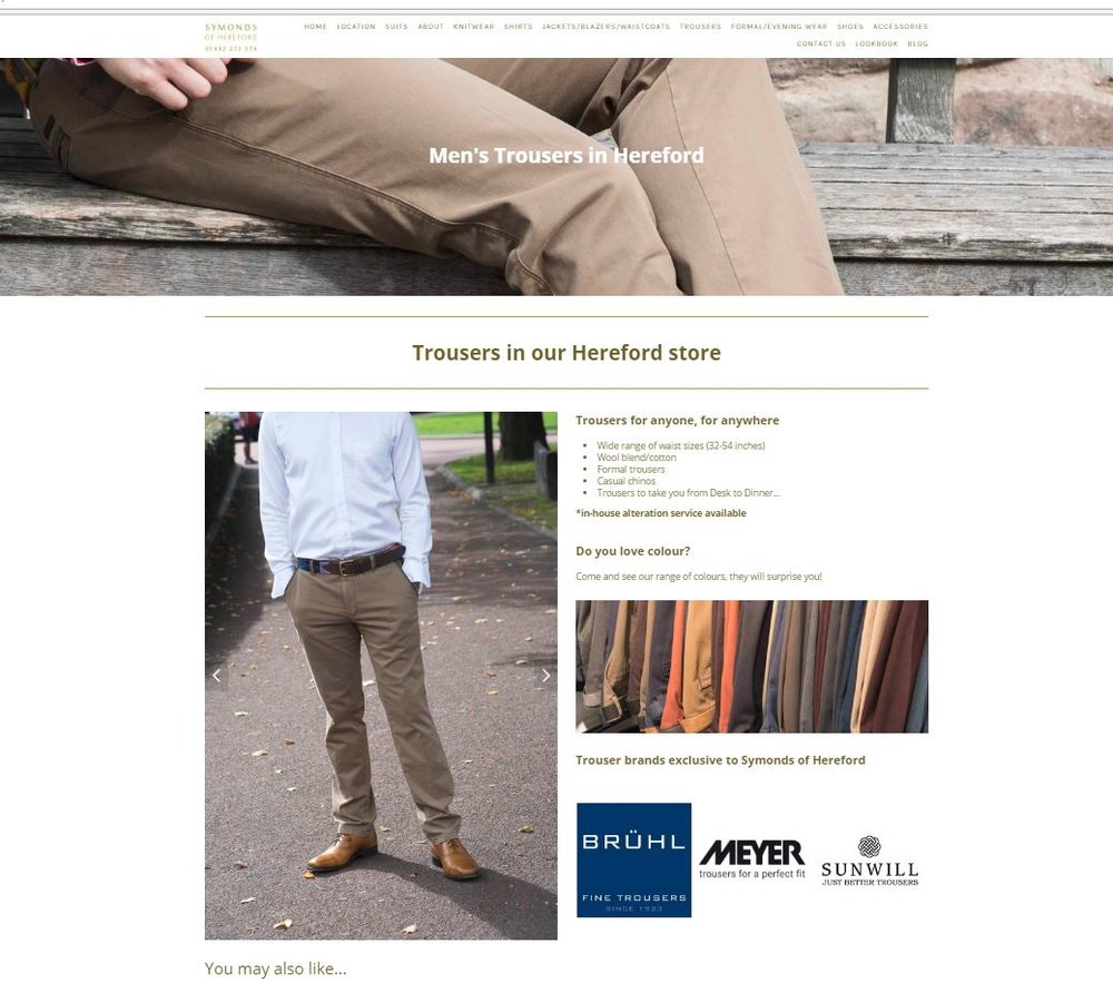 Screenshot of Trousers page of Symonds of Hereford website