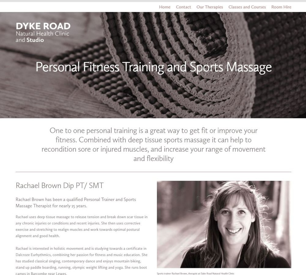 Screenshot of Personal Fitness Training page on Dyke Road Natural Health Clinic website