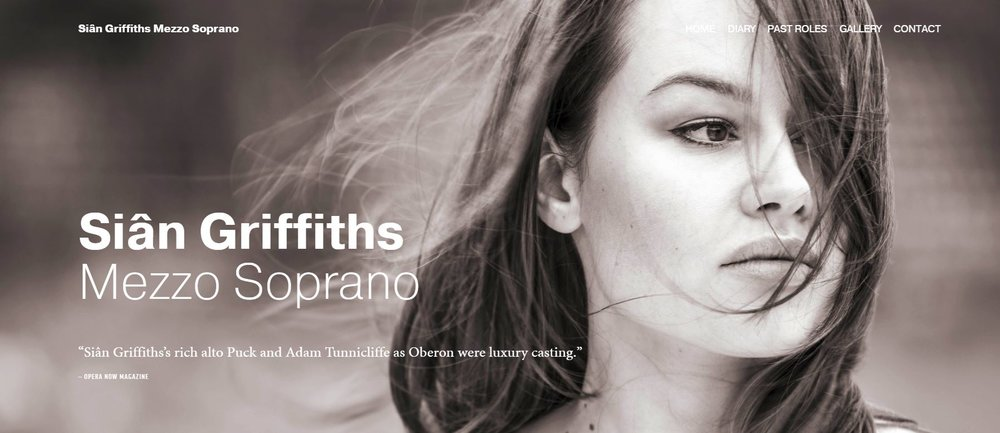 Screenshot of home page of Mezzo Soprano Sian Griffiths website