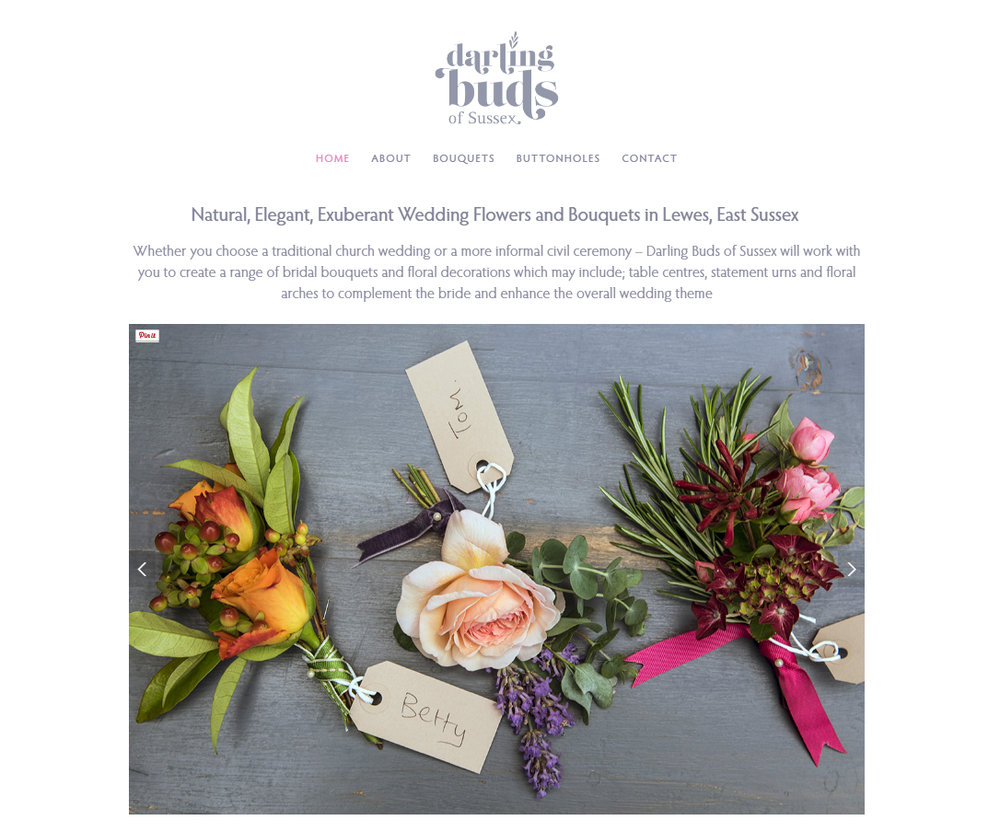 Screenshot of Buttonhole page on Darling Buds of Sussex website