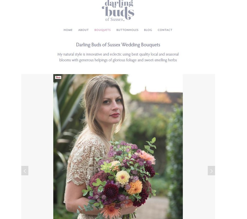 Screenshot of Wedding Bouquet page on Darling Buds of Sussex website