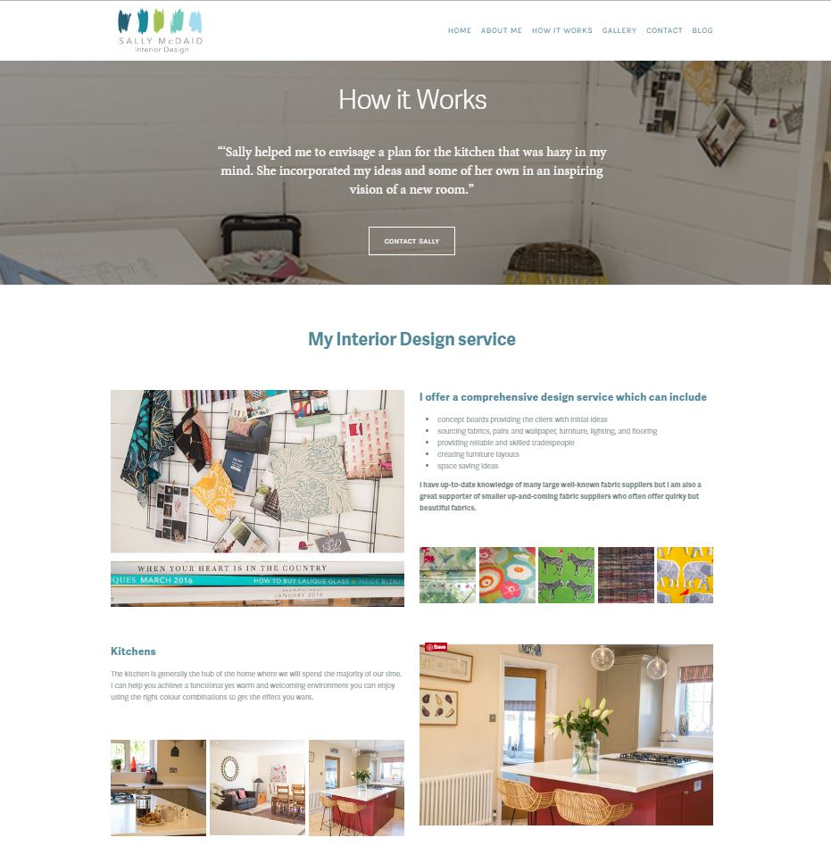 Screenshot of Interior Designer's website