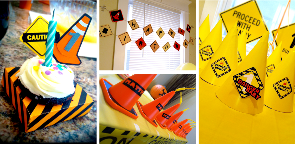 BSaz Creates | Danger Baby Construction Themed Custom Birthday Party Decor & Smash Cake