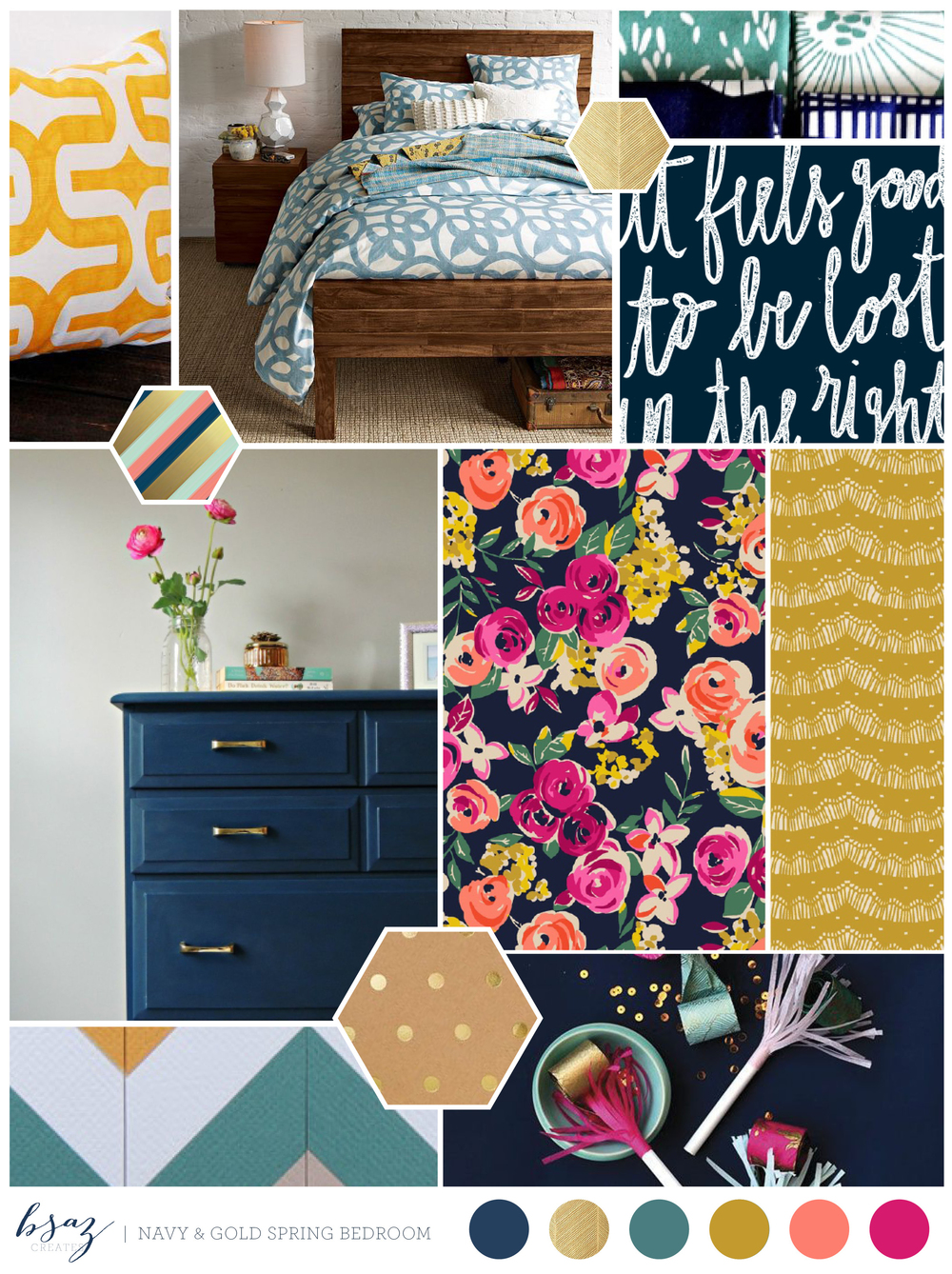 BSaz Creates - Bedroom Inspiration Board - Navy & Gold Spring Pallet