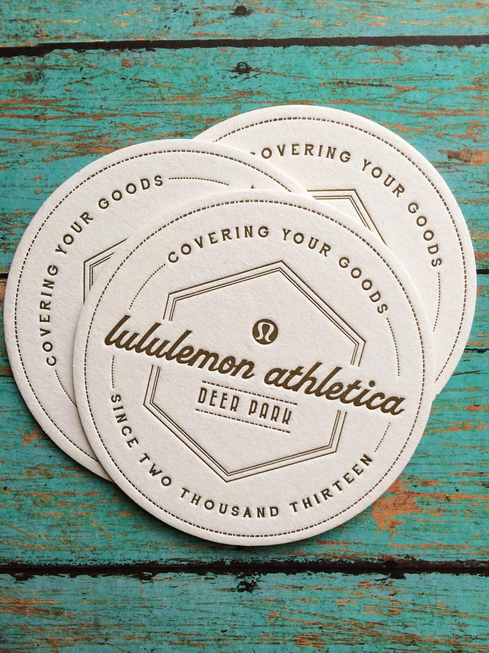 BSaz Creates | Lululemon Deer Park | Letterpressed Coasters