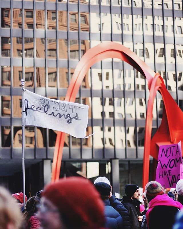I stepped off the train, cried the second we got up to the crowd and caught myself wiping tears the whole time. Empathy is a powerful tool. ✨ #womensmarchchicago #womensmarch
