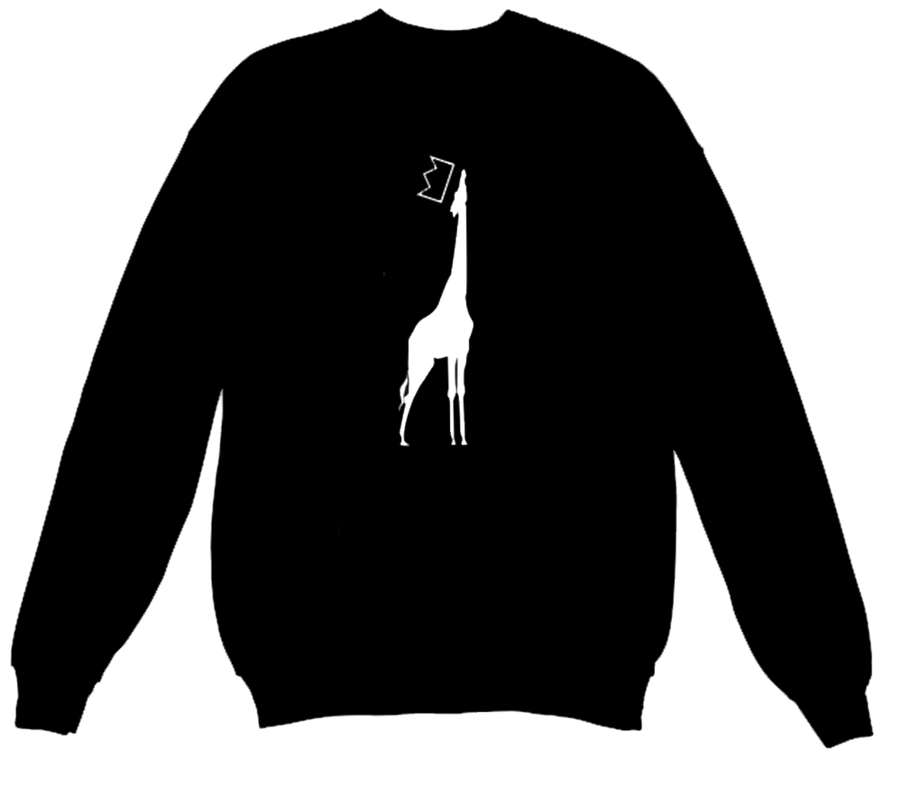 QGU GIRAFFE LOGO CREWNECK SWEATSHIRT - available in S, M, L, XL and XXL*quality cotton blend, available in Black Only no image on back