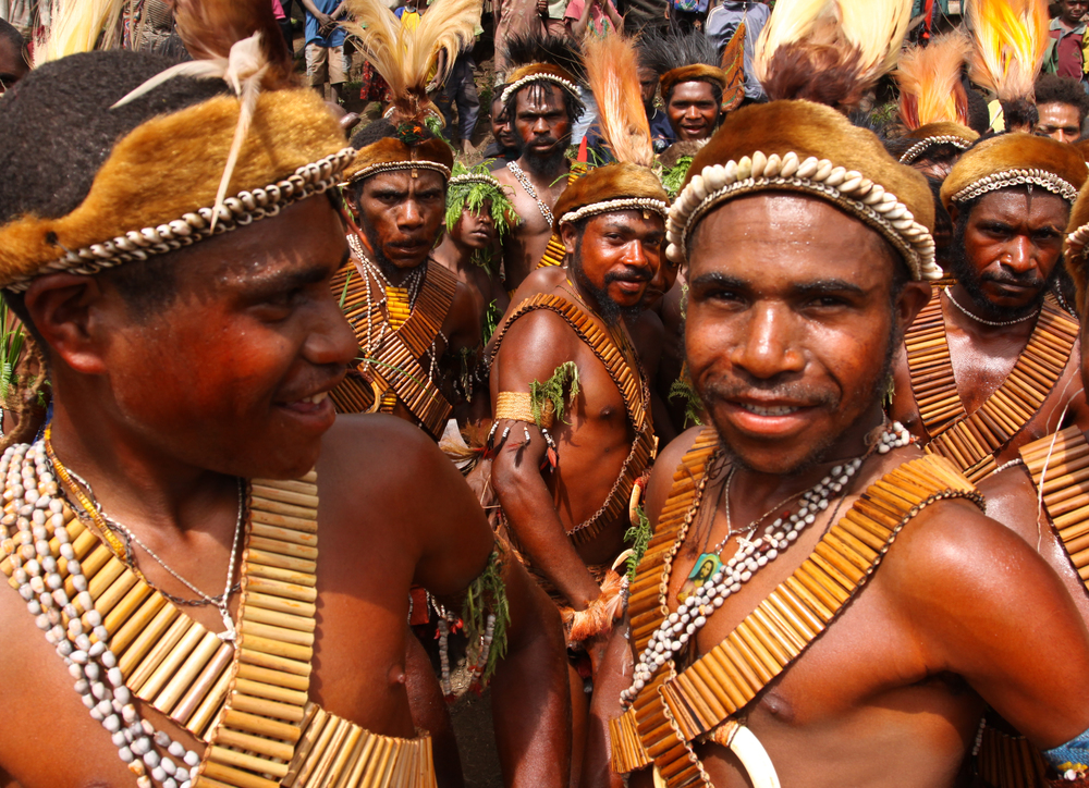 Yupno tribesmen from Tapmange village in the YUS Conservation Area, PNG