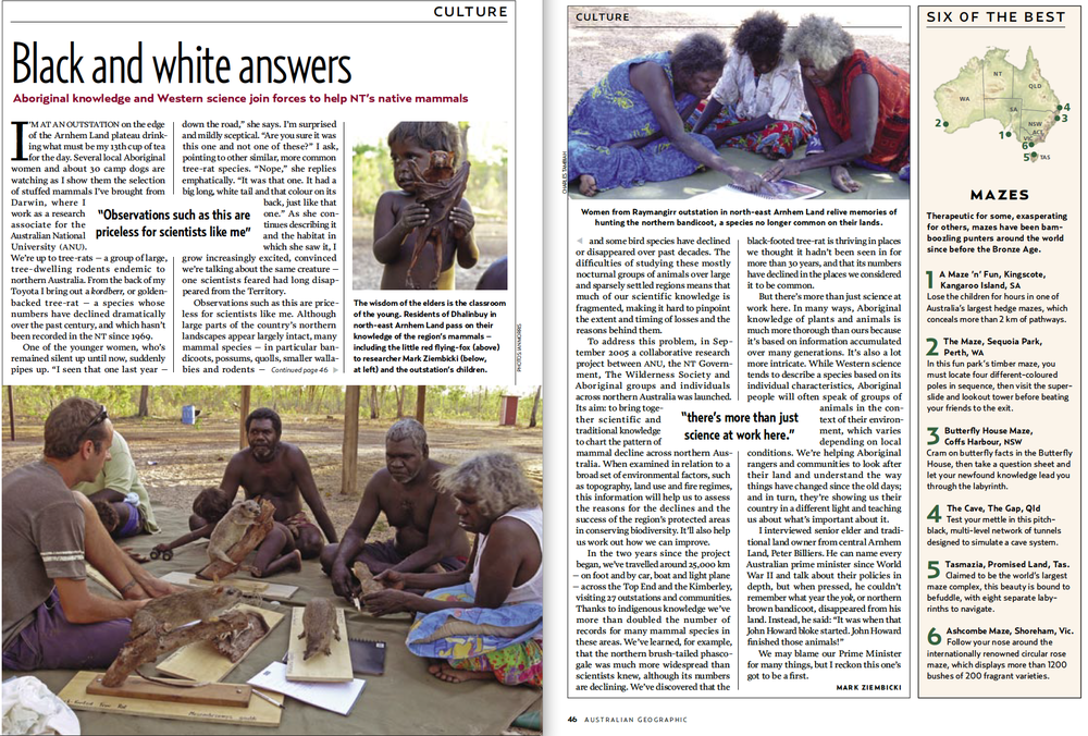 Story on Aboriginal knowledge of mammals -  Australian Geographic 2007 (Issue 87)
