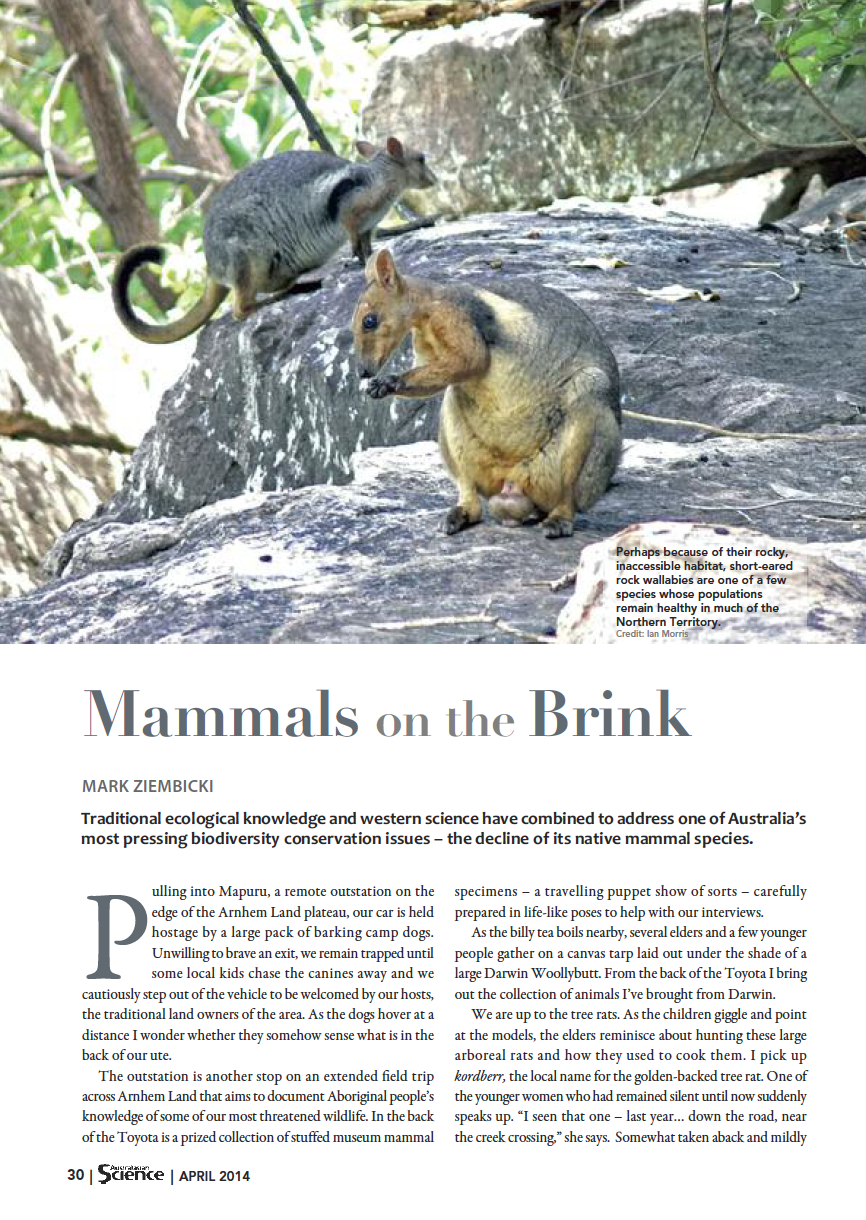 Story in  Australasian Science magazine - April 2014 , includes photos by Ian Morris