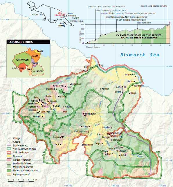 Map of the YUS Conservation Area, Morobe Province, PNG (reproduced from Australian Geographic magazine)