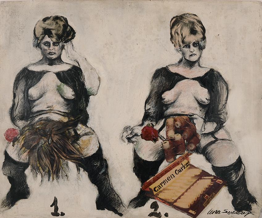 Lena Svedberg, Carmen Curlers, 1969, 44 x 56 cm, blandteknik på pannå