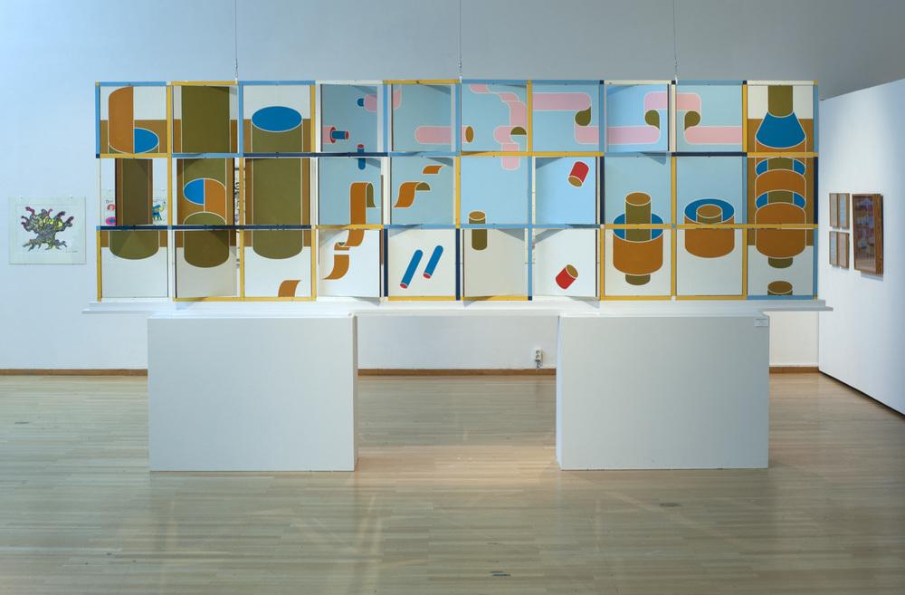 Beck & Jung, Felixsnurran, 1968, 130 x 400 cm, metal och perstorpsplattor, utförd till Astra i Södertälje