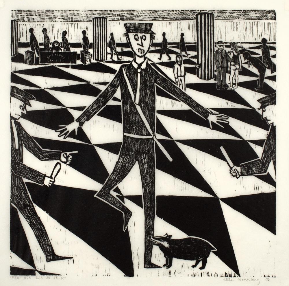 Ulla Wennberg, Men hon blir ju såld! 1979, 52 x 52 cm, lenoliumsnitt på papper