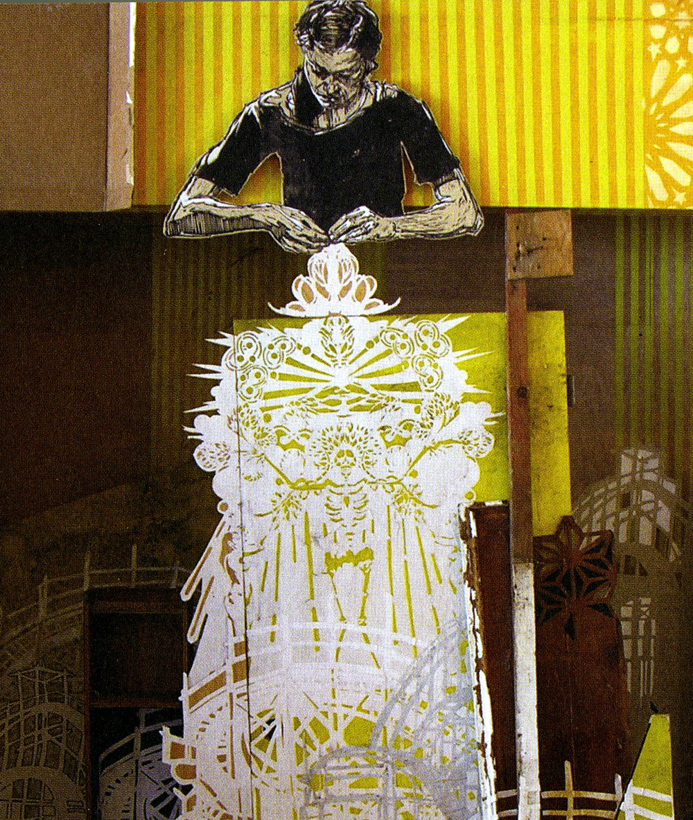 Swoon, Alison the Lace Maker, 2007, 185 x 90 cm, blandteknik