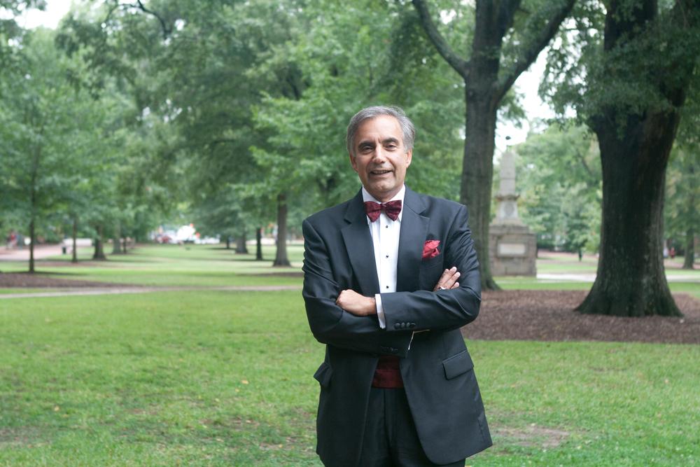 USC President Harris Pastides stands on the Horseshoe. Spencer Scott Nelson