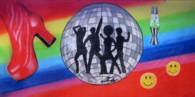 1970s Backdrop  Boogie Night Mirror Ball