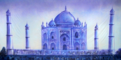Bollywood Backdrop  Blue Taj Mahal