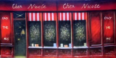 France Backdrops  French Cafe Red