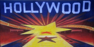 Hollywood Backdrop  Hollywood yellow star and film reel