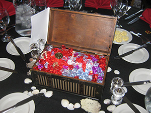 Treasure Chest table centre at event