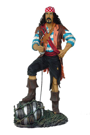 Pirate - Lifesized - Fully 3D  Approx dimensions:- 55cms x 98cms x 190cms  This fabulous swahbuckling Pirate model stands with his foot on a barrel. He has knives attached to his belt and a metal sword