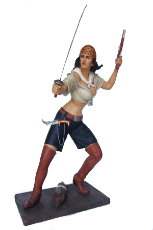 Pirate Girl - Lifesized - Fully 3D  Approx dimensions:- 100cms x 62cms x 158cms  Our Pirate Girl model makes a real impact with her action stance and brandishing her sword she really attracts attention in any situation