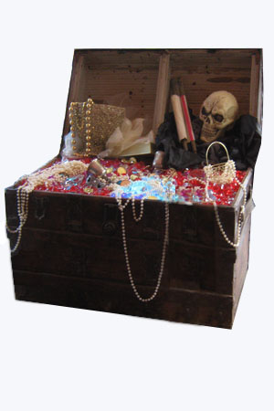 Pirate Treasure Chest  Approx dimensions - 90cm x 60cm x 60cm  Stuffed with treaure and lit internally with colour changins lights. Fantastic centre piece