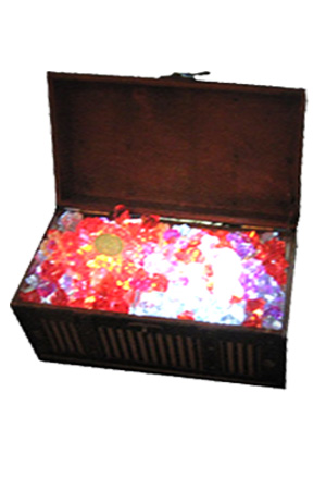 Pirate Chest Tablecentres  Filled with gems and pieces of eight  Internally lit with battery powered leds