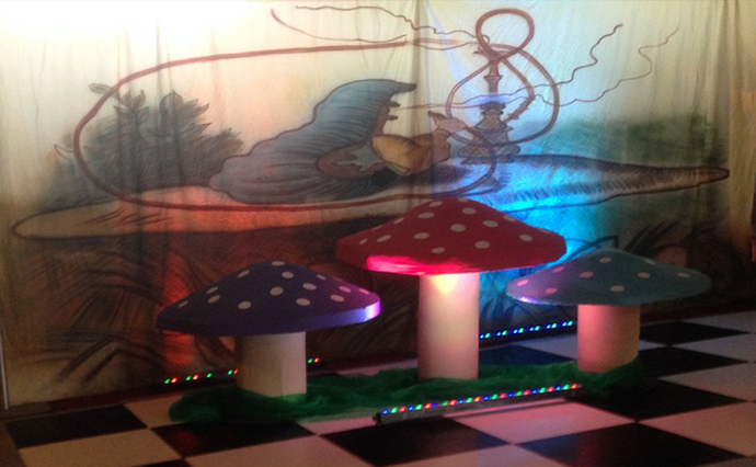Cameo at an event - Showing backdrop - Black and white dance floor - Mushrooms and Lighting  Mushrooms are 1.2m and .8m