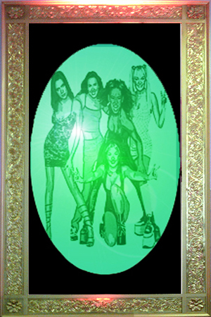 Giant Gold Framed 1990s band transparencies  Approx 2.5m high and 1.2m wide  These are back lit with either static or colour changing lights - 4 available