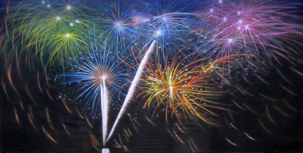 Backdrop - Fireworks   Measures approximately 6m x 3m (20' x 10')  Can be supplied with freestanding, goal post style stand