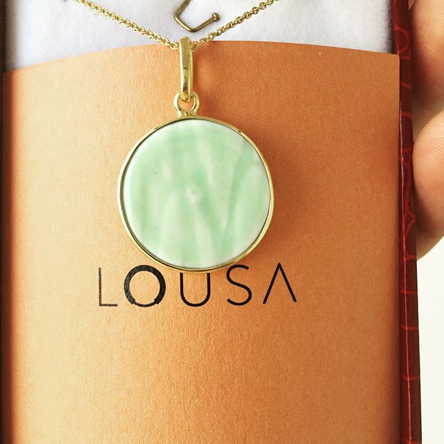 lousa baby ( 925 silver necklace, 18K gold plated , porcelain)