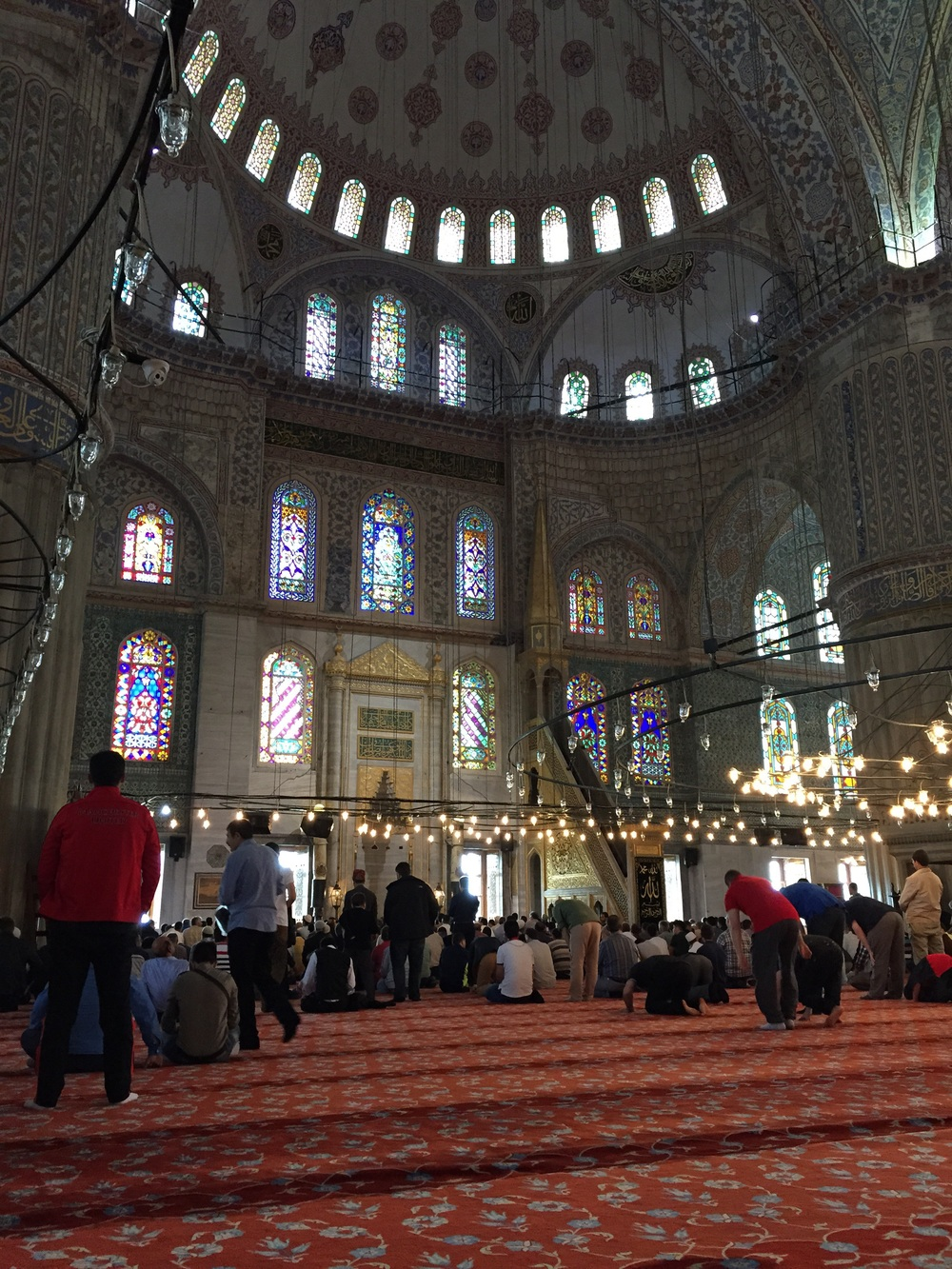 Muslims praying inside the Blue Mosque