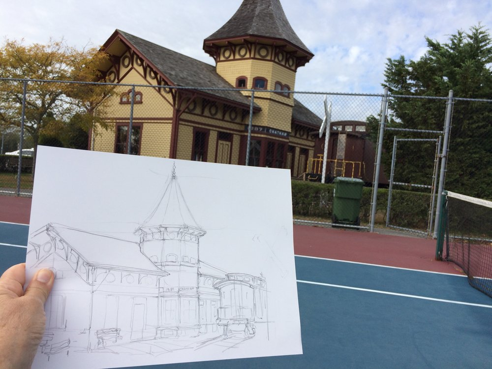Sketch of Chatahm Railroad Museum, Chatahm, MA