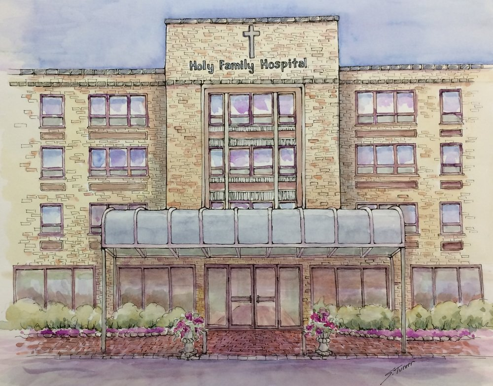 """Holy Family Hospital Entrance""  Watercolor and Pen & Ink Size:"