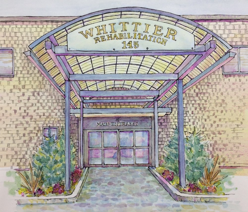 """Whittier Rehabilitation Entrance""  Watercolor and Pen & Ink Size:"