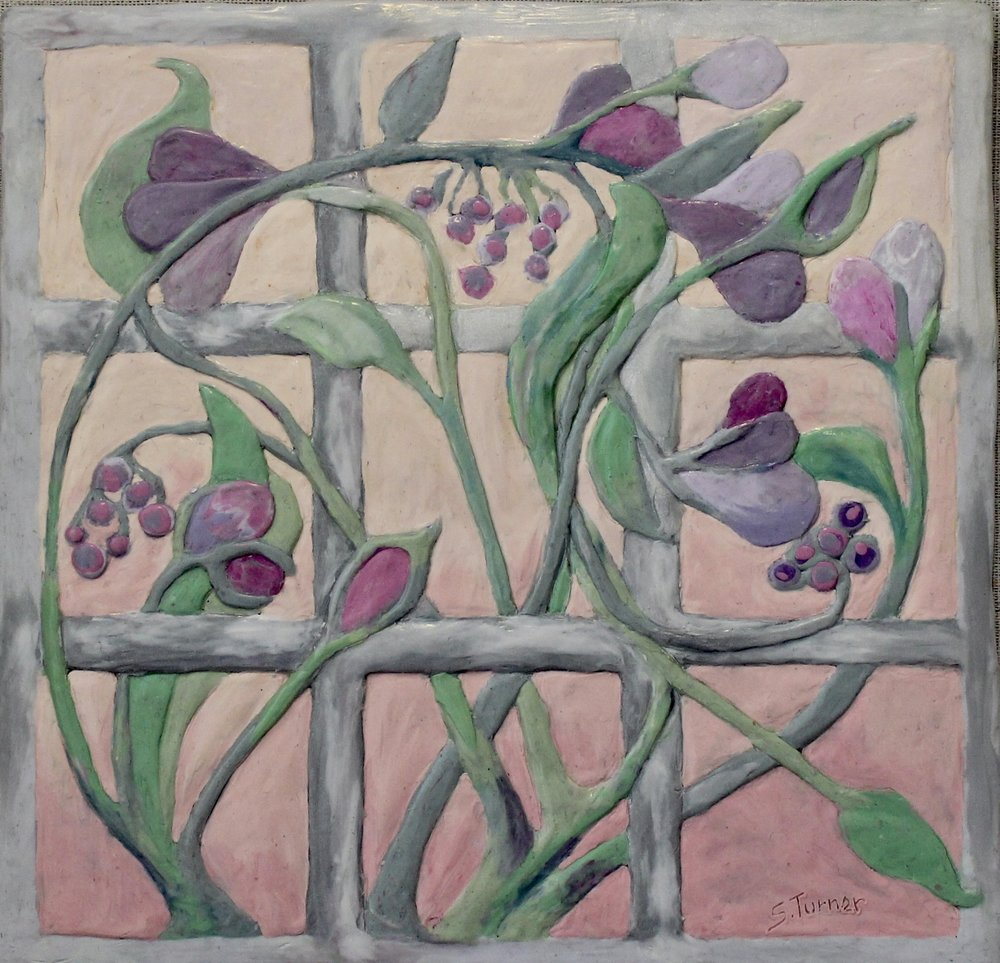 """Floral Trellis""   (Polymer relief painting 8.75"" x 8.5"")"