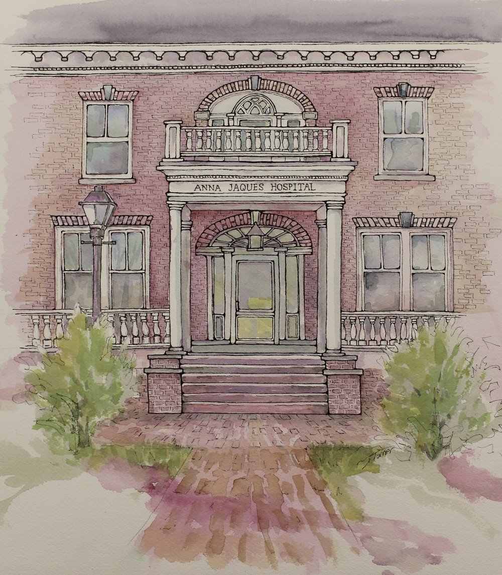 """Anna Jaques Hospital Entrance""   Watercolor and Pen & Ink Size:"