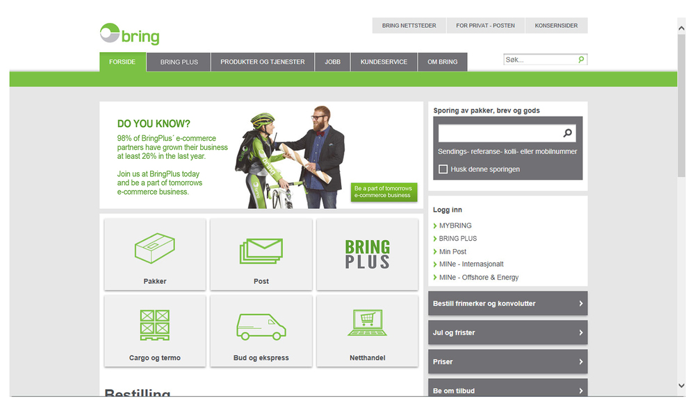 Example of MyBring Website