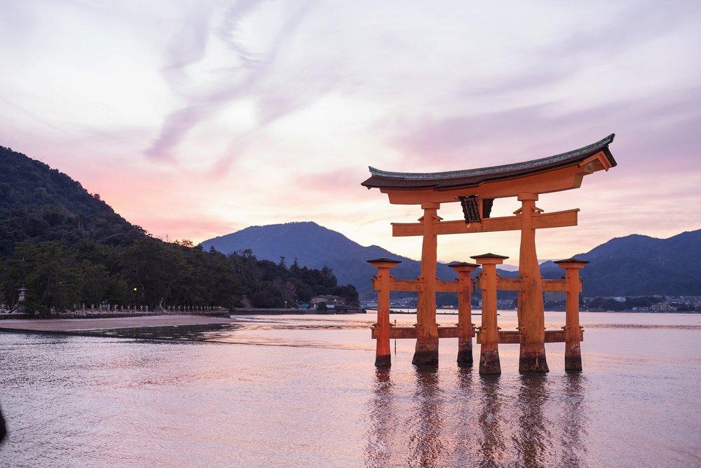 Shintohelgedomen Itsukushima Shrine, utanför Hiroshima.