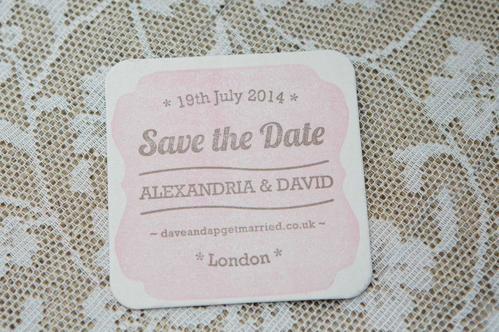 letterpress wedding coaster