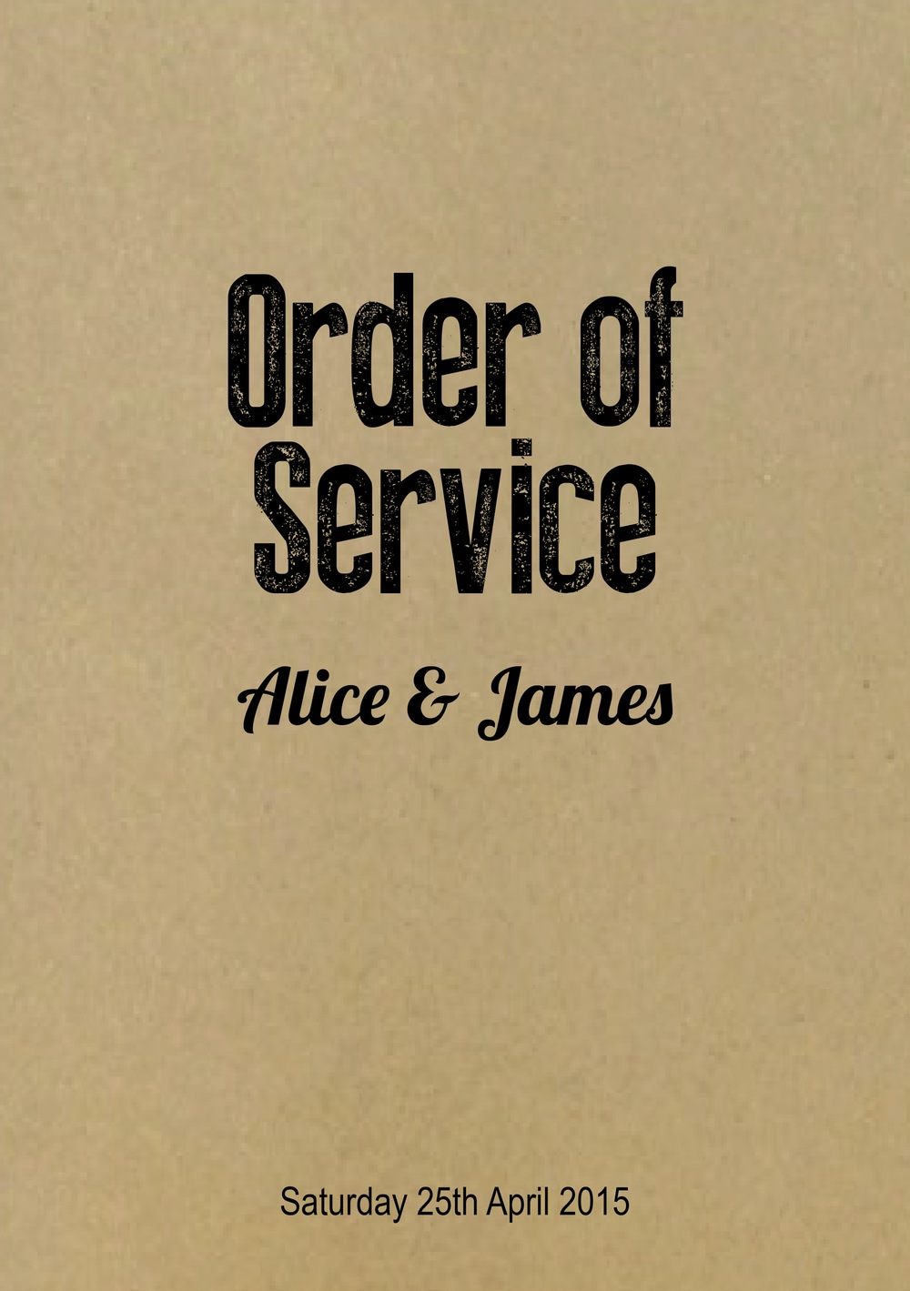 Order of service covers