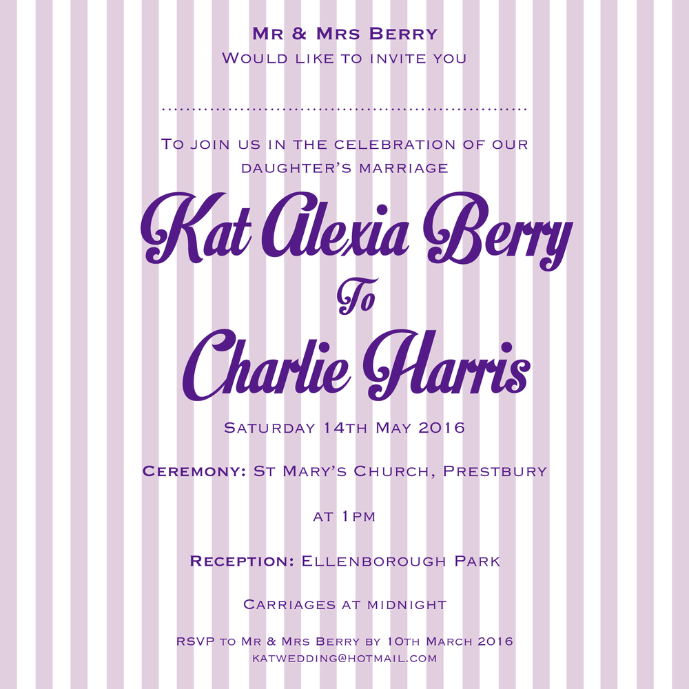 retro sweet wedding invitation