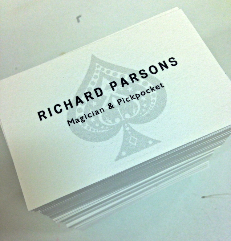 Business cards for Gloucestershire Magician, Richard Parsons ...