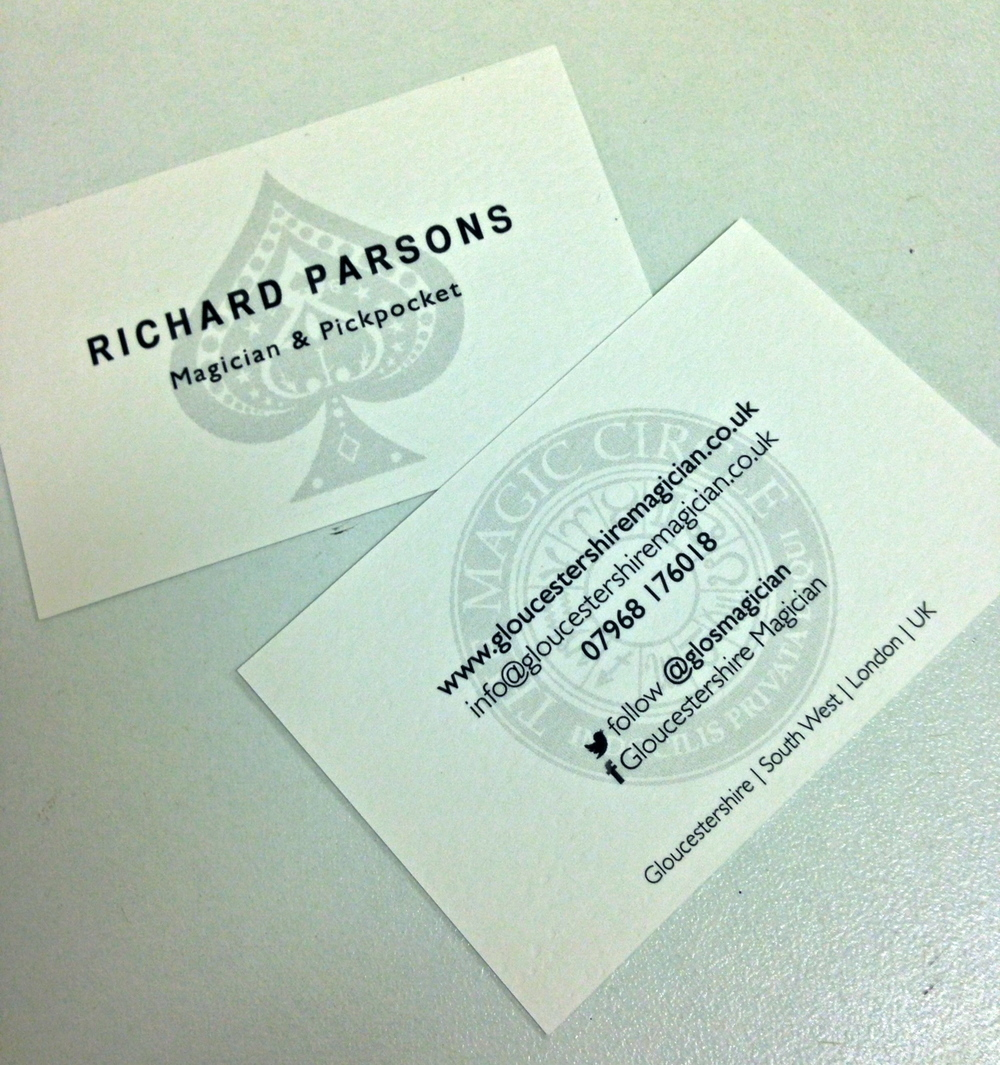 Business cards for gloucestershire magician richard parsons gloucestershire magician reheart Gallery