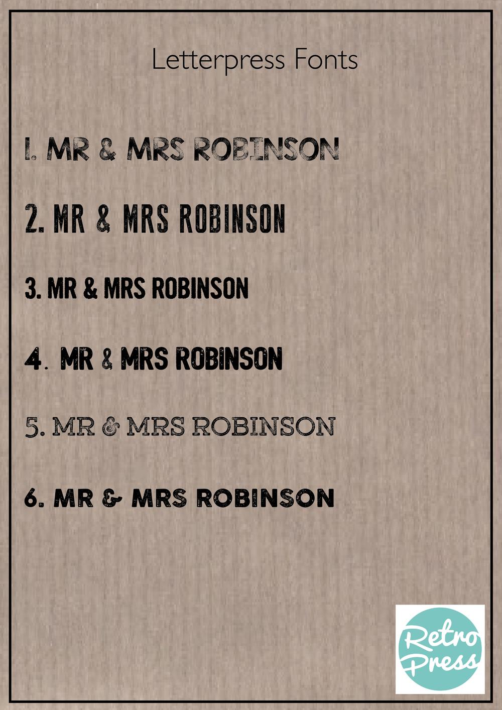 letterpress wedding fonts